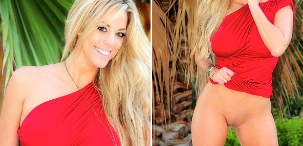 Xo Gisele in a red dress