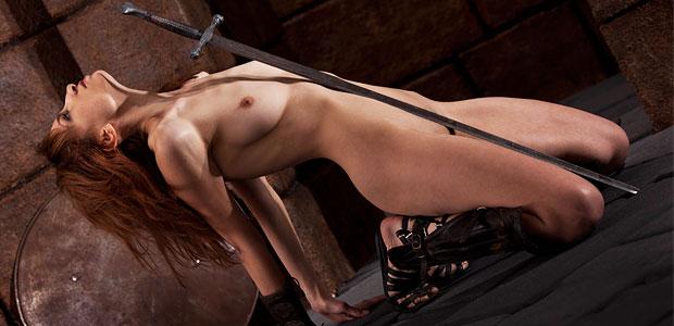 Nude babe big sword